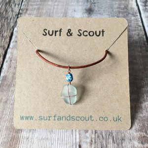 Azurite Sea Glass Necklace
