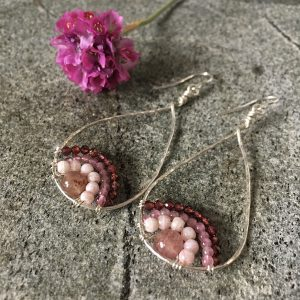 Pink Gemstone Rainbow Earrings