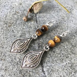 Silver Tiger Eye Earrings